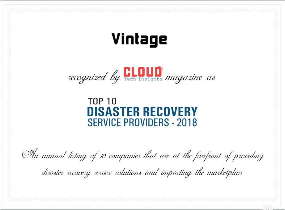 Cloud Tech Insights Top 10 Disaster Recovery Service Providers Award to Vintage IT Services