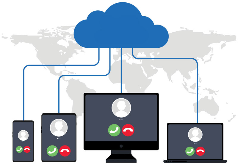 illustration of hosted VoIP solutions with a cloud connecting communications between multiple devices